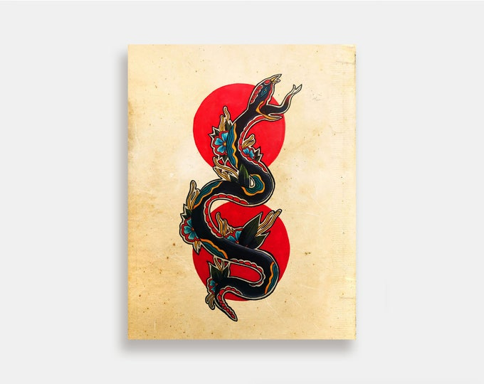Serpentina - Illustration Art Print American Neo Traditional Tattoo Flash Snake