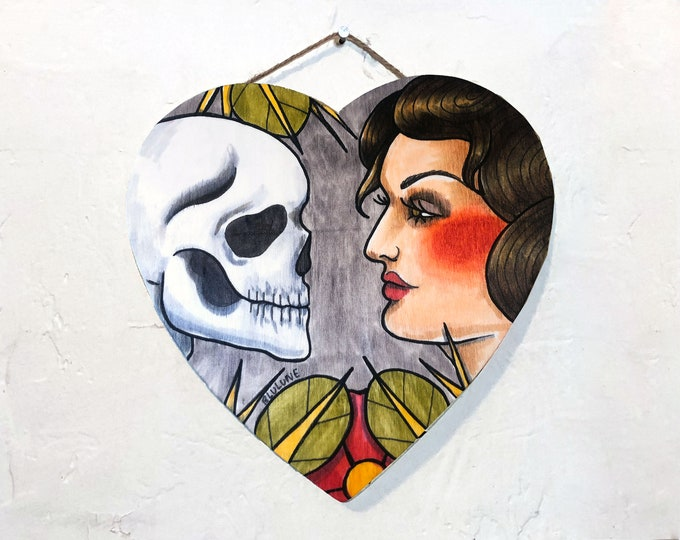 Heart Shaped Wood Hanging Plaque - Flirting with Death - One of a Kind