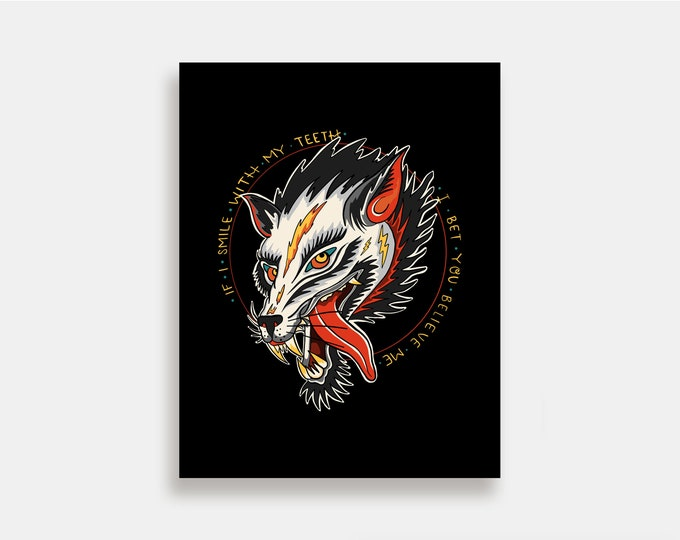 Fake Happy - Illustration Art Print American Neo Traditional Tattoo Paramore Wolf
