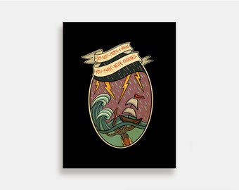 Nautica - Illustration Art Print American Neo Traditional Tattoo Sailor Boat Nautical
