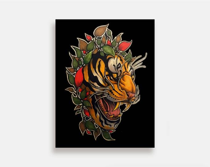Panthera - Illustration Art Print American Neo Traditional Tattoo