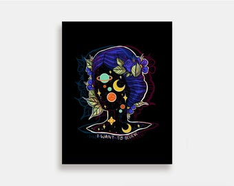 I Want to Believe - Illustration Art Print American Neo Traditional Tattoo Outer Space Aliens Nasa