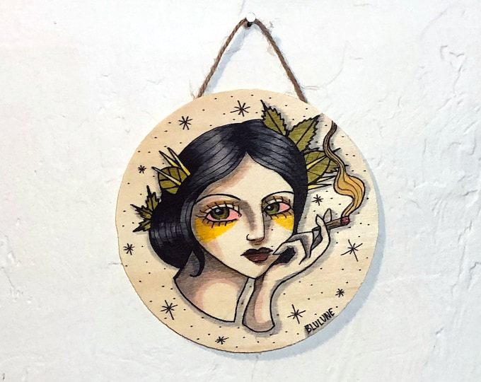Circular Wood Hanging Plaque - Mary J - One of a Kind