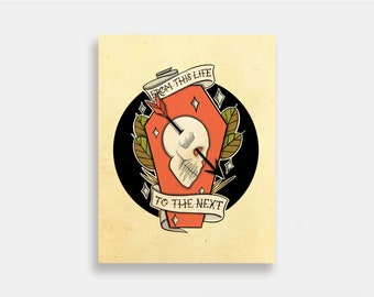 From This Life to the Next - Illustration Art Print American Neo Traditional Tattoo