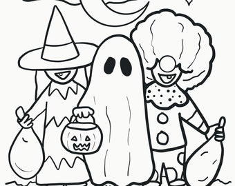 Trick or Treat - Halloween Coloring Page - Digital Download