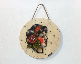 Circular Wood Hanging Plaque - Sailor's Lady - One of a Kind