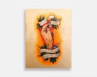 Last Hope - Illustration Art Print American Neo Traditional Tattoo