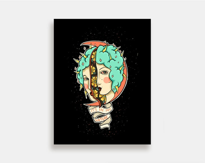 In My Nature - Illustration Art Print American Neo Traditional Tattoo Smoker
