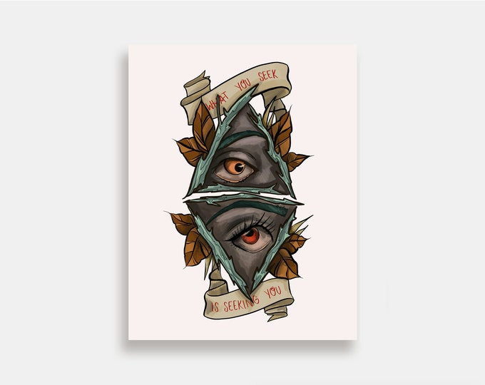 What You Seek - Illustration Art Print American Neo Traditional Tattoo