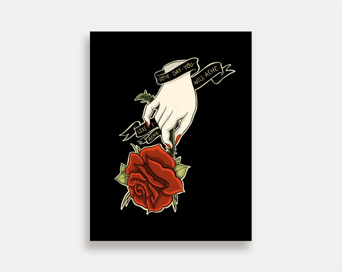 Ache - Illustration Art Print American Neo Traditional Tattoo Rose Hand Courtney Love Hole