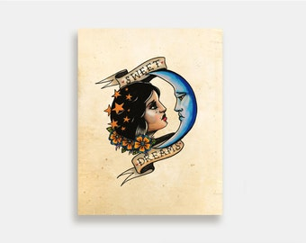 Sweet Dreams - Illustration Art Print American Neo Traditional Tattoo Moon
