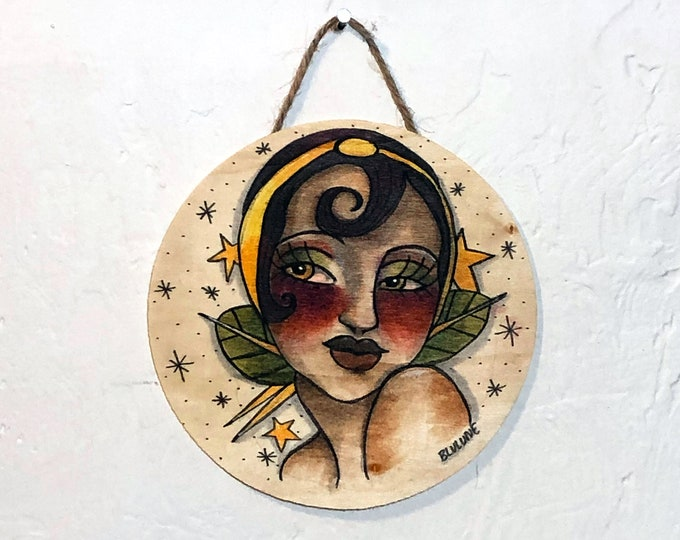 Circular Wood Hanging Plaque - A Star is Born - One of a Kind