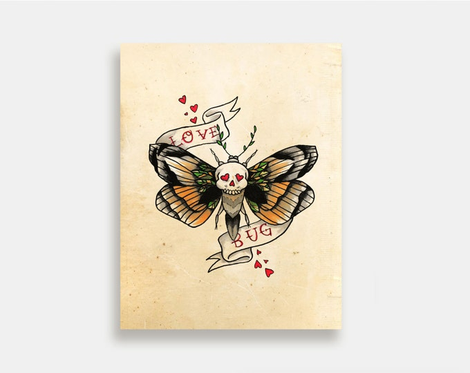 Love Bug - Illustration Art Print American Neo Traditional Tattoo Deathshead Moth