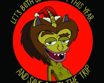 HORMONE MONSTER Big Mouth Holiday Card