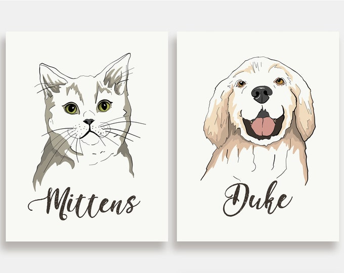 Custom Pet Portrait - Illustration Art Print