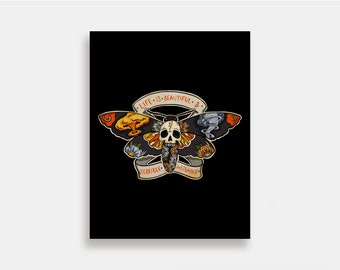 Take Me Home - Illustration Art Print American Neo Traditional Tattoo Deathshead moth