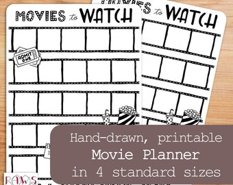 Books To Read Movies To Watch Planner Printable Bullet Etsy