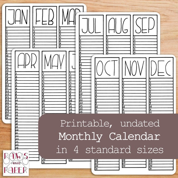 month at a glance calendar printable