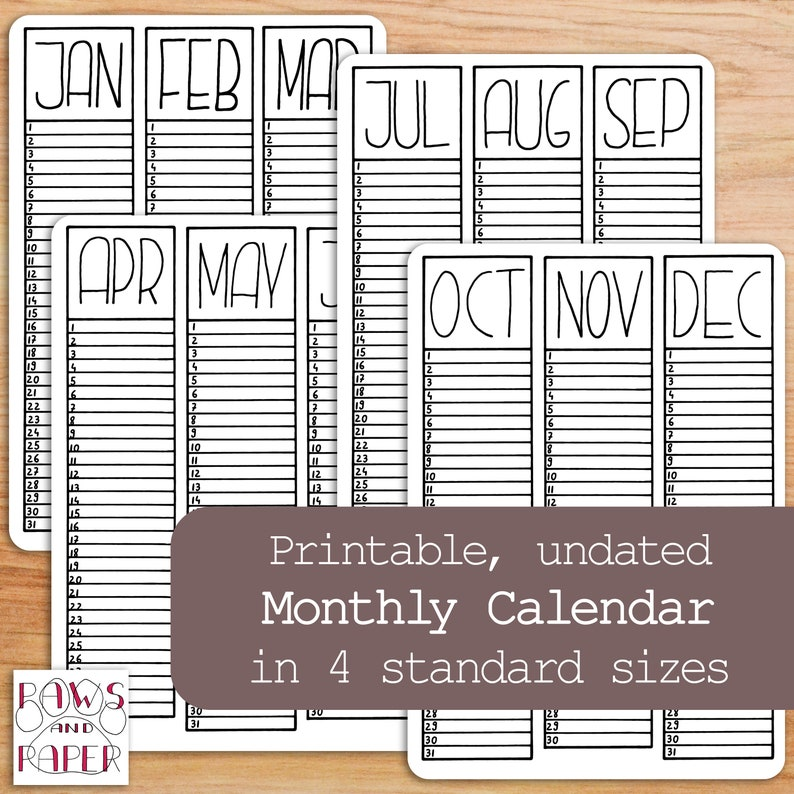graphic regarding Printable 3 Month Calendar referred to as Undated calendar printable with 3 weeks at a glimpse for your Bullet Magazine, planner, or birthday planner.