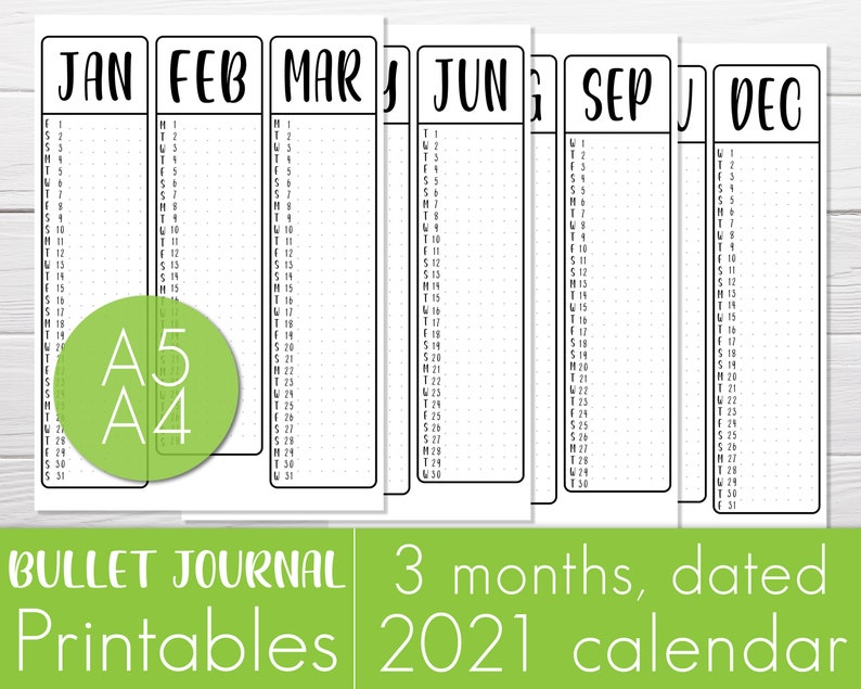 2021 calendar 3 months on one page planner printable   Etsy