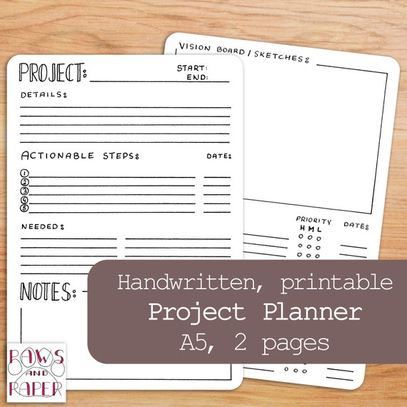printable project planner bullet journal a5 planner inserts etsy