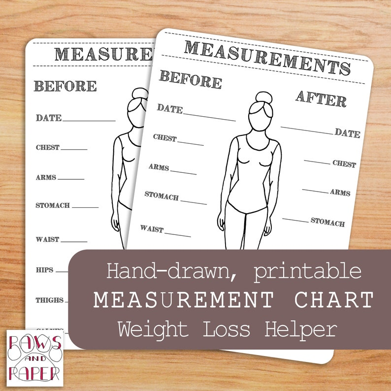 Printable body measurements chart for your Bullet Journal or image 0