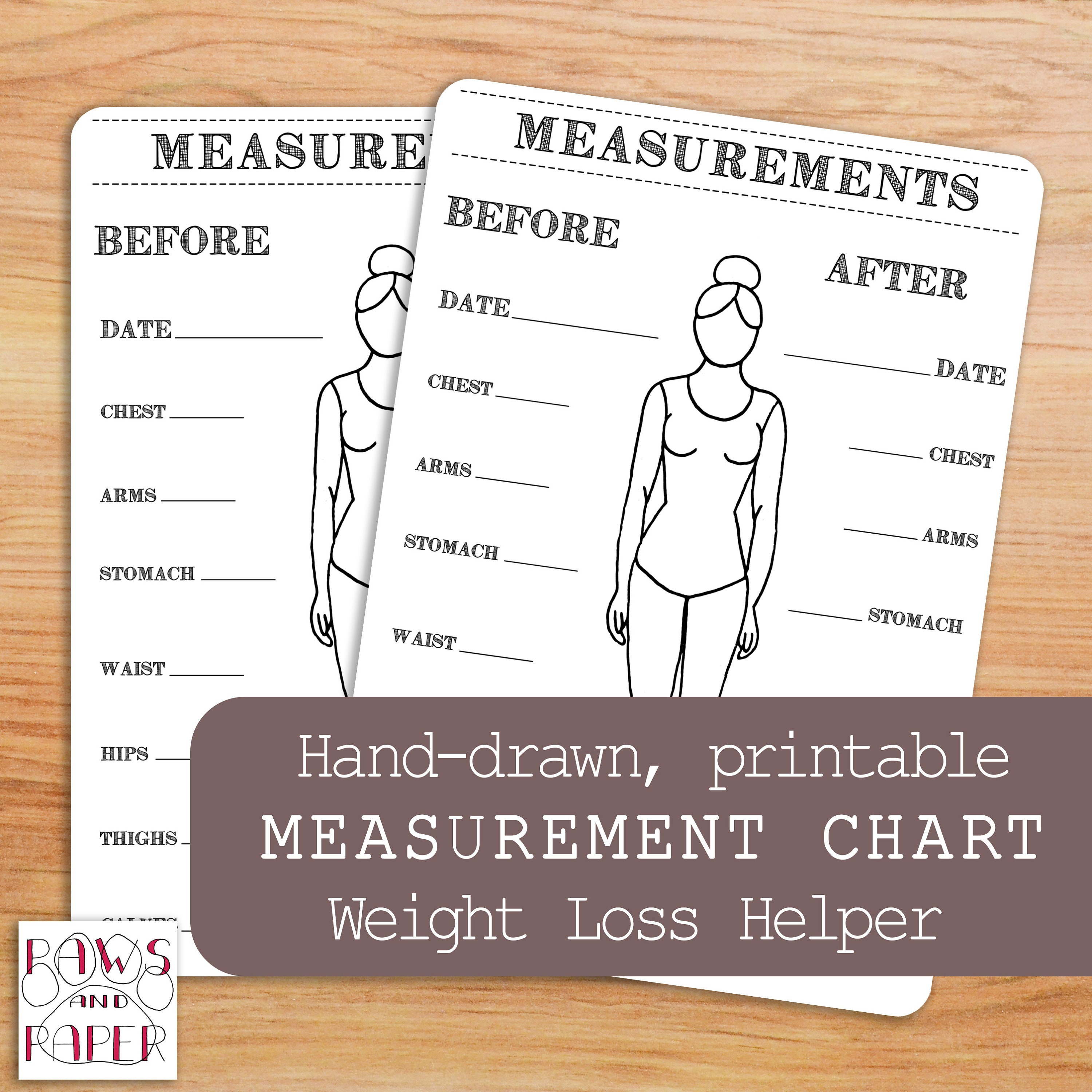 printable body measurements chart bullet journal inches lost