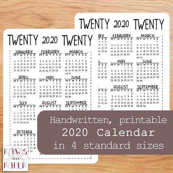 Calendrier Bullet Journal 2020.Printable 2020 Calendar A5 Planner Insert Bullet Journal Year At A Glance 2020 Planner Agenda 2020 Mini Calendar Desk Calendar Bujo