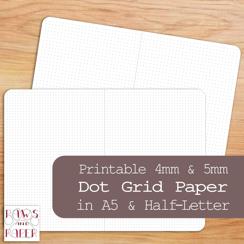 picture relating to A5 Dot Grid Printable identified as Printable Dot Grid Paper, A5, 50 % Letter Dimensions, Planner Inserts, Bullet Magazine, Filofax, Kikki K, Planner Refill, Bujo, Dotted Paper