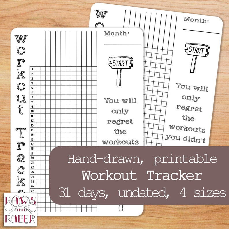 photograph about Printable Workout Journals known as PRINTABLE exercise routine tracker for 31 times for your planner or bullet magazine. Vertical and undated conditioning and work out planner.