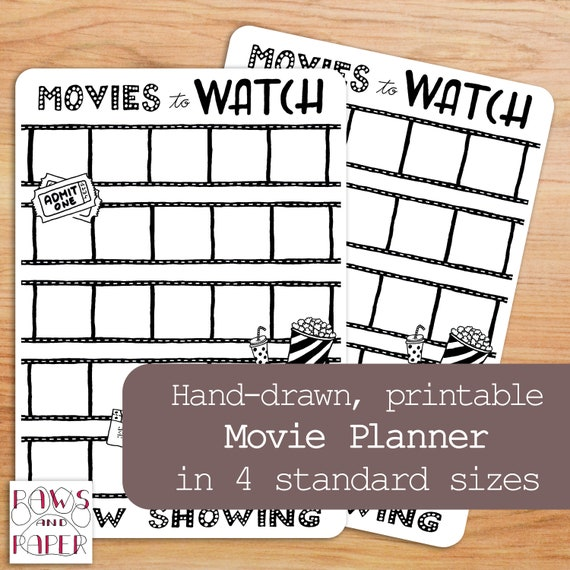 Printable Movie Planner 4 Sizes Planner Printable Movie Etsy