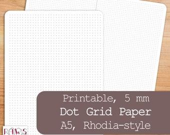 Printable Dot Grid Paper, A5 Planner Insert, Rhodia-Style 5mm, Writing Paper, Dot Grid Journal, A5 Dot Grid, Bullet Journal, Planner