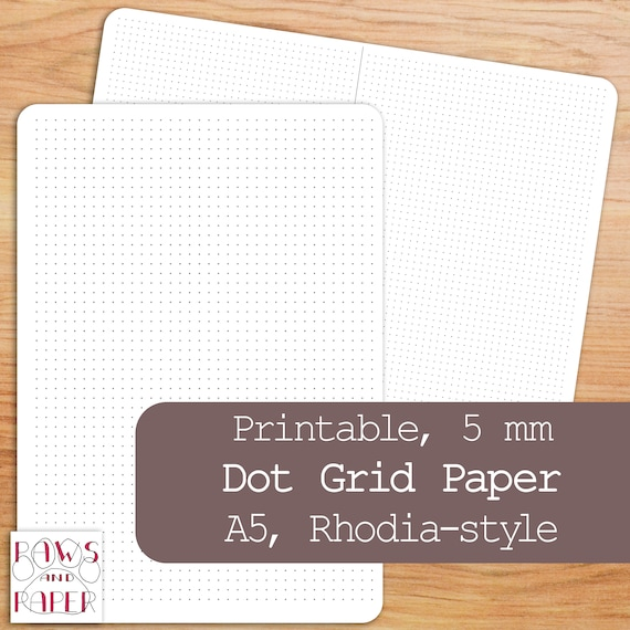 Printable Dot Grid Paper, A5 Planner Insert, Rhodia-Style 5mm, Writing Paper, Dot Grid Journal, A5 Dot Grid, Bullet Journal, Planner
