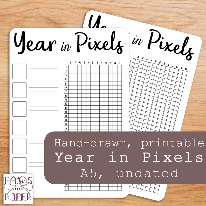 photo regarding Year in Pixels Printable named Printable 12 months Within Pixels Template, Bullet Magazine, A5 Planner Include, 2019 Planner, Per year Temper Tracker, 2019 Diary, Magazine, Routine Tracker