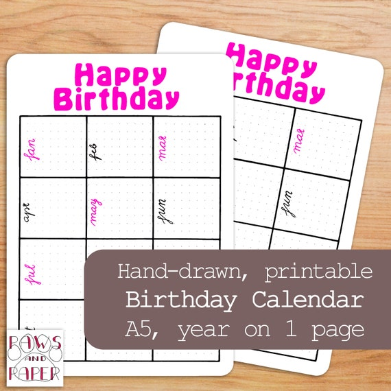 Printable Birthday Planner Birthday Calendar Monthly Etsy