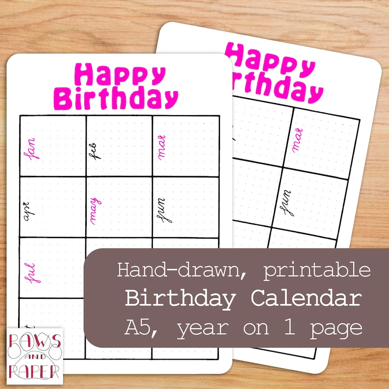picture relating to Printable Birthday Calendar referred to as Printable birthday calendar for your planner or Bullet Magazine. Month to month birthday and anniversary planner. Birthday reminder.