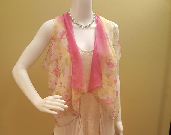 Petite Pink Scarvest with flowers