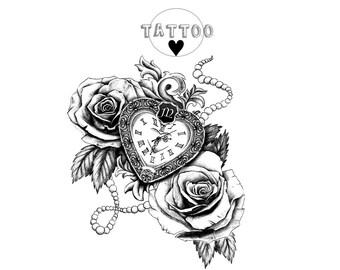Rose Clock Tattoo Etsy