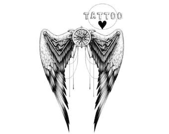 2367c7b212cd9 Temporary TATTOO WINGS CLOCK Fashion Tattoo Cool Beauty Sexy Tattoo  Waterproof Stickers 4,9x7cm 6.6x7cm 10x7,1cm 10x14cm 20x14cm AA70