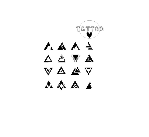 Temporary Tattoo Mini Set Triangle Symbol Tattoo Cool Beauty Etsy