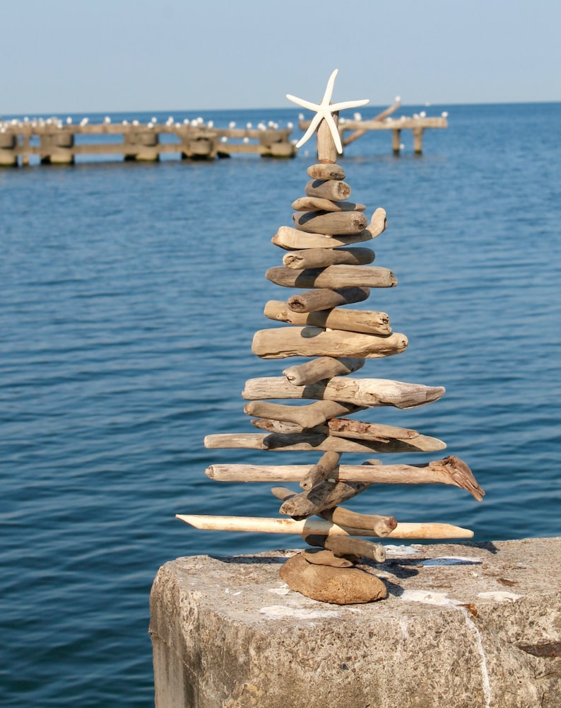 2ft Driftwood Tree at water's edge.