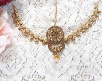 Indian Bridal jewelry champagne gold bridal headpiece Golden Crystal Headpiece Matha Patti One side Mathapatti Indian Headpiece damini