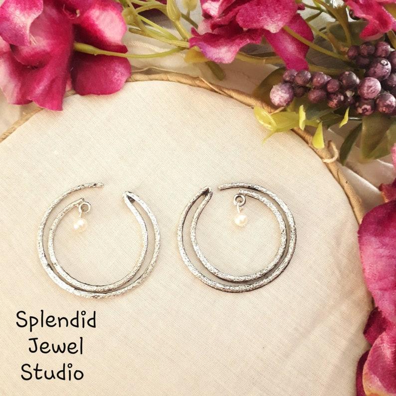 german silver studs Classic Statement Pearl Studs Bollywood earrings big pearl Stud Earrings Big Stud Earrings Oxidised studs