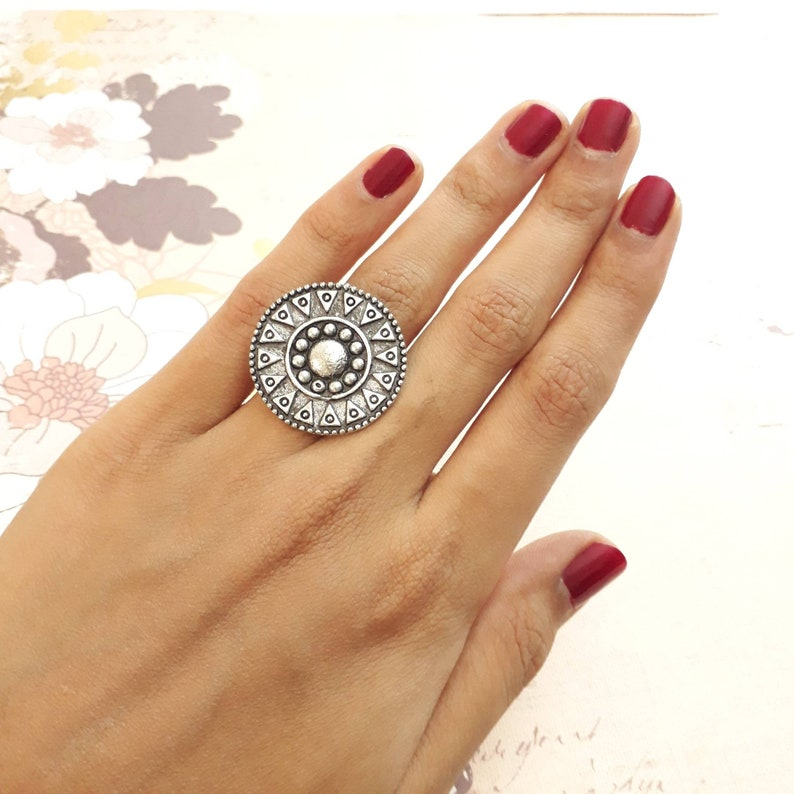 Adjustable Silver ring Cute small silver Ring bollywood Jewelry Indian Jewelry german silver jewellery oxidized silver Rings