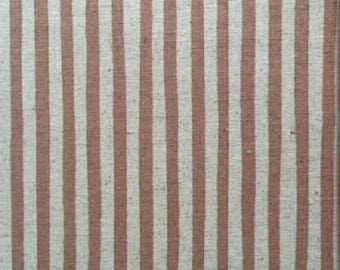 Japanese Sevenberry fabric - Linen & cotton - taupe and cream - by 50 cm (110 x)
