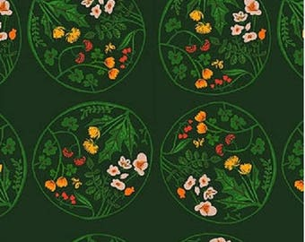 American cotton fabric Tiger Lily designer Heather Ross - bubbles of green flowers - by 50 cm (110 x)