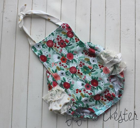 c9ea3d70ffa knit floral bubble romper baby romper ruffled romper