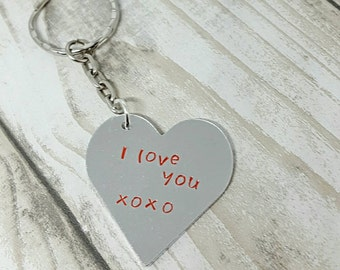 Personalised heart keyring, hand stamped heart, heart keychain, create your own, heart keyring, stamped keyring, love gift, gift for her