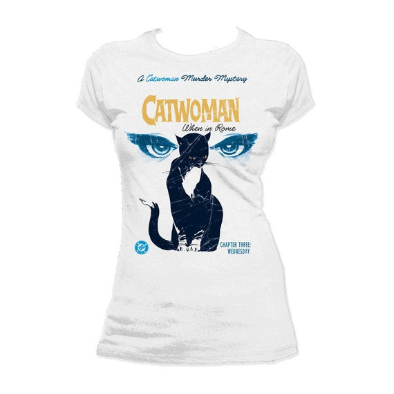 DC Comics Catwoman Murder Mystery Cover When in Rome Official Women's T shirt (White)