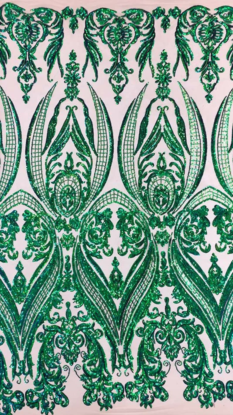 SM10 Nude Mesh /& GreenBlue Sequins Tulip Flower ; By the YARD Sequins on Stretch Mesh Fabric